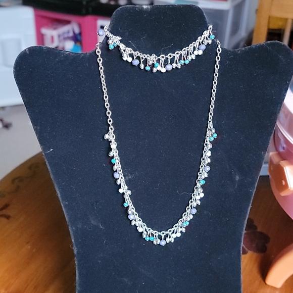 Fringe bead necklace and bracelet set